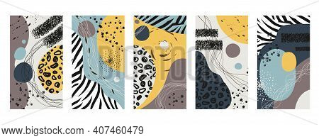 Vector Set Of Abstract Animal Skin Backgrounds For Social Media Stories Design, Wall Decoration Patt