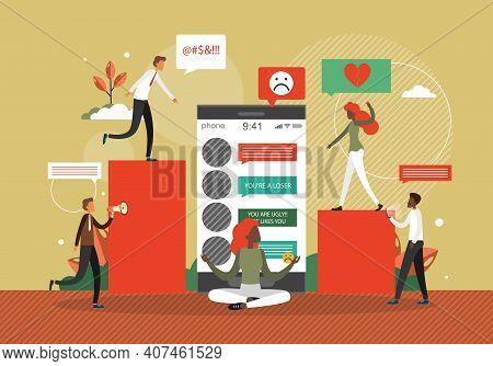 Cyber Bullying Concept Vector Illustration. Online Bully Behavior In Social Media. Hate, Abuse And V