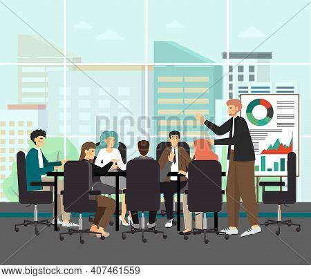 Board Of Directors Meeting Withwhite Man As A Ceo, Concept Vector Illustration. Business Executive M