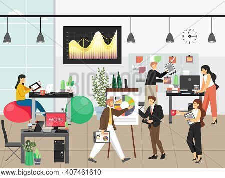 People Work In Office Vector Illustration. Team Of Employees Work In Business Interior. Modern Offic