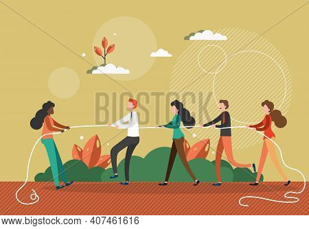 Black Woman Pulls A Rope Against Team Of White People. Stop Racism In Business Concept Vector Illust