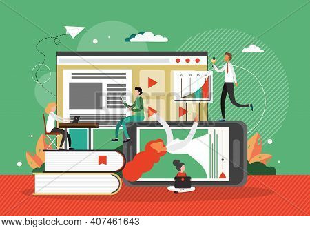 Online Education And Training, Concept Vector Illustration. Digital Library Technology. Online Cours