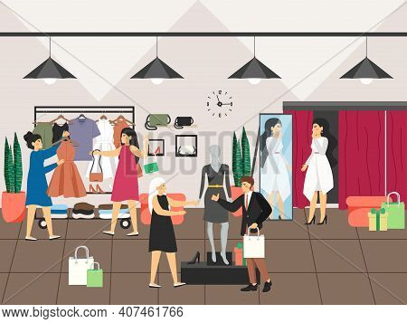 Women Shopping And Buying Clothes In Clothing Shop Or Apparel Boutique. Fashion Dress Concept Vector