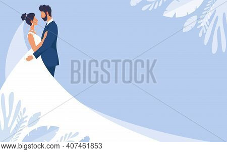 Bride And Groom In Wedding Dresses, Wedding Banner With Copy Space And Blue Background. Mockup For W