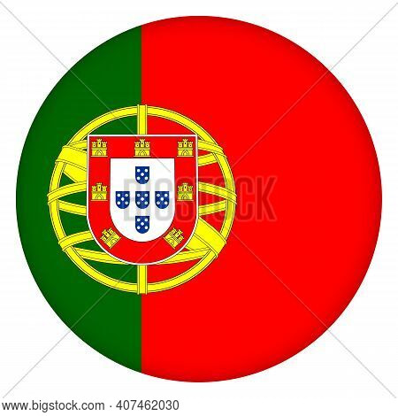 Glass Light Ball With Flag Of Portugal. Round Sphere, Template Icon. Portuguese National Symbol. Glo