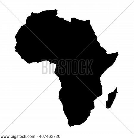 Africa Map Icon On White Background. Africa Map Silhouette Sign. Flat Style.