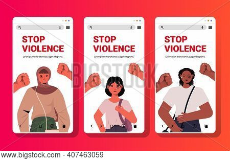 Male Fists Over Mix Race Scared Terrified Women Stop Family Violence Aggression Concept Smartphone S