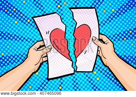 Concept Of A Star-crossed Love Affair In Pop Art Style. Hands Hold A Torn Sheet Of Paper