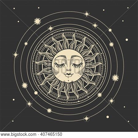 Vector Illustration In Modern Vintage Mystical Style For Tarot Card, Astrology, Heavenly Boho Design