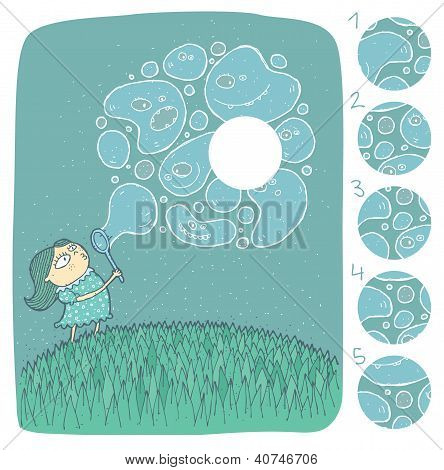 Girl with Soap Bubbles Mind Game Puzzle