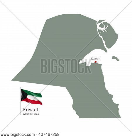 Silhouette Of Kuwait Country Map. Highly Detailed Editable Map Of Kuwait With National Flag, Western