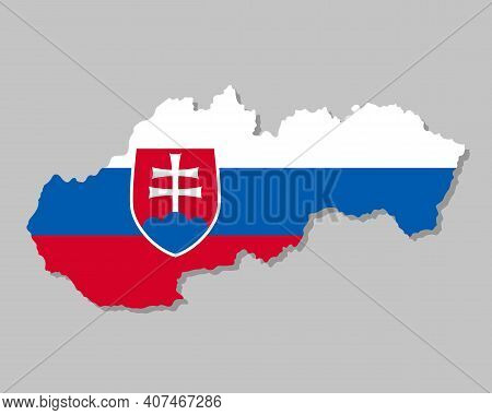 Highly Detailed Map Of Slovakia With Flag. Silhouette Of European Country Map With Slovakian Flag In