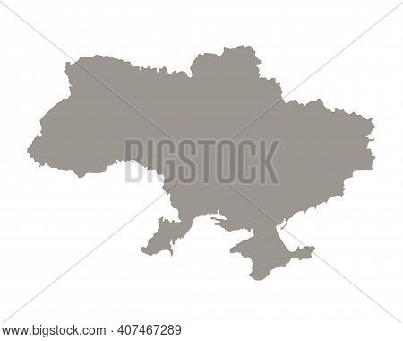 Silhouette Of Ukraine Country Map. Highly Detailed Editable Gray Map Of Ukraine Territory Borders Wi