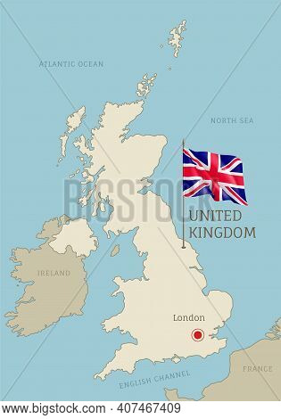 Silhouette Of United Kingdom Country Map. Highly Detailed Editable Uk Map Country Territory Borders