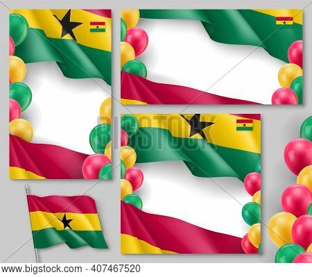 Ghana Flag Banners With Space For Text Set. African Country National Waving Flag Backdrop Can Be Use