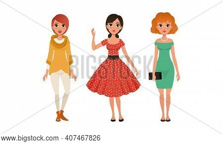 Beautiful Girls In Fashionable Clothes Set, Three Young Women Wearing Stylish Elegant Outfit Cartoon