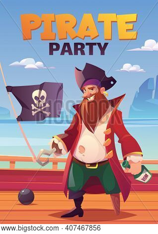 Pirate Party Cartoon Poster With Bearded Smiling Filibuster Captain With Hook Hand And Wooden Leg Pr
