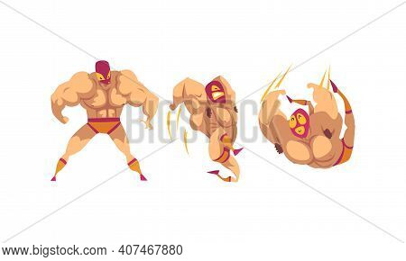 Masked Mexican Wrestlers In Various Poses Set, Battle Acrobat Fighters Cartoon Vector Illustration