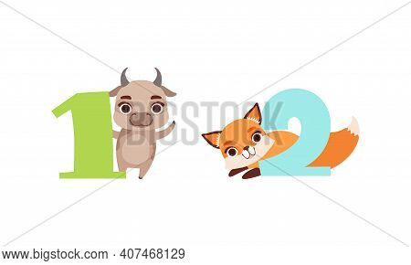 One And Two Numbers With Cute , Birthday Anniversary Numerals With Funny Calf And Fox Animals Cartoo