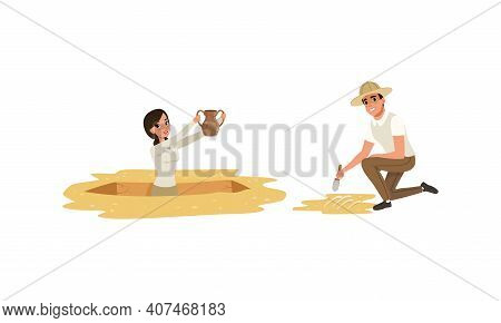 Archaeologist Scientist Characters Working On Excavations With Historical Artifacts, Archeology And