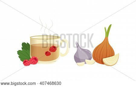 Hot Herbal Tea, Garlic And Onion Bulbs, Natural Remedy For Cold Treatment, Ethnoscience And Healthca