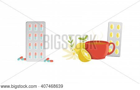 Herbal Tea, Lemon, Chamomile And Pills For Cold Remedy, Healthcare Medications Cartoon Vector Illust