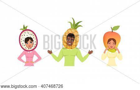 Smiling People In Fruit Headdress, Happy Persons Wearing Pitahaya, Pineapple, Mango Headgears Cartoo