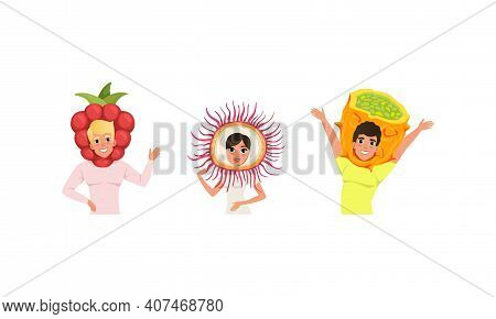 Smiling People In Fruit Headdress, Happy Persons Wearing Kiwano, Raspberry, Rambutan Headgears Carto