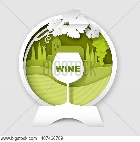 Wine Logo, Label, Emblem Template. Vector Paper Cut Wine Glass, Grape Vine, Vineyard Landscape In Ro