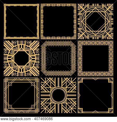 Retro Decorative Blank Frames Collection With Classic Elegant Geometric Traceries In Vintage Style I