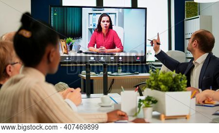 Woman Ceo Speaking At Webcam During Virtual Business Video Presentation For Business Partners. Confi