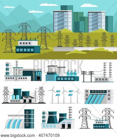 Power Generation Orthogonal Concept With Electric Station Design And Set Of Energy Plants Isolated V