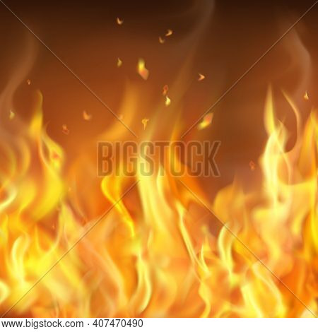 Abstract Hot Burning Firewall Template With Shiny Fire Flames In Realistic Style Vector Illustration