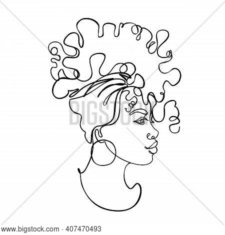 Abstract Portrait Of Young African American Woman. Continuous One Line Drawing Isolated. Vector Illu