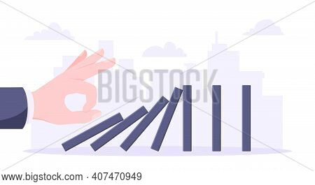Domino Effect Business Concept. Hand Starts Chain Reaction Of Falling Board Game Blocks Of Dominoes