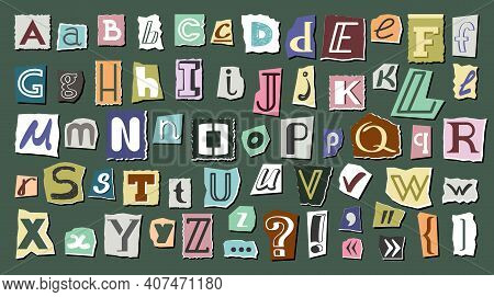 Journal Cut Letters And Symbols Set. Colorful Alphabet Selected From Newspaper Clippings With Capita
