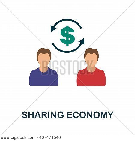 Sharing Economy Flat Icon. Color Simple Element From Fintech Collection. Creative Sharing Economy Ic