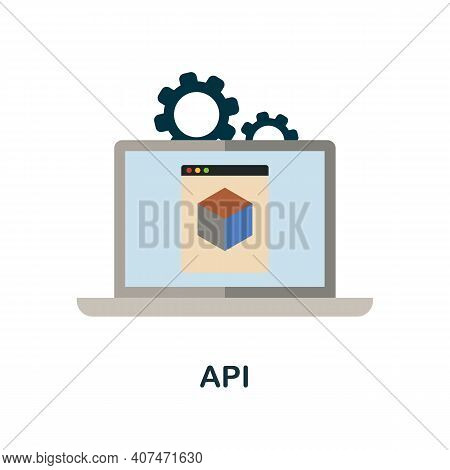 Api Flat Icon. Color Simple Element From Fintech Collection. Creative Api Icon For Web Design, Templ