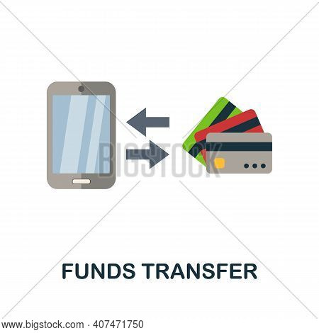Funds Transfer Flat Icon. Color Simple Element From Fintech Collection. Creative Funds Transfer Icon