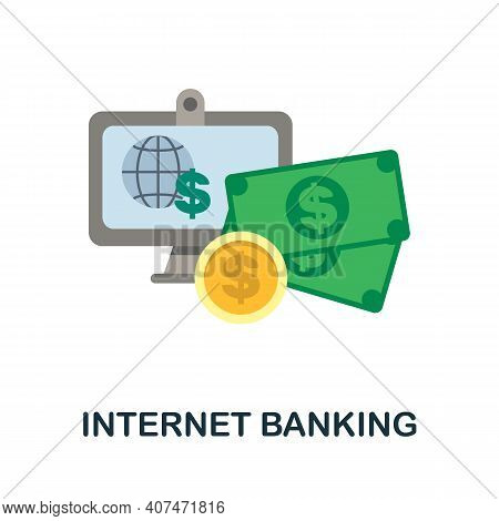 Internet Banking Flat Icon. Color Simple Element From Fintech Collection. Creative Internet Banking