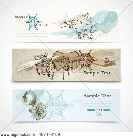 A Set Of Three Horizontal Ancient Nautical Design Elements Informative Advertising Banners Vector Il