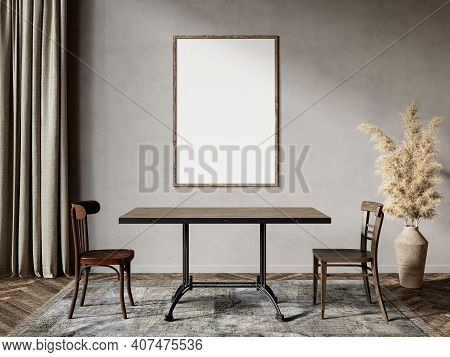 Gray Beige Interior With Dinner Table Decor And Poster. 3d Render Illustration Mock Up.