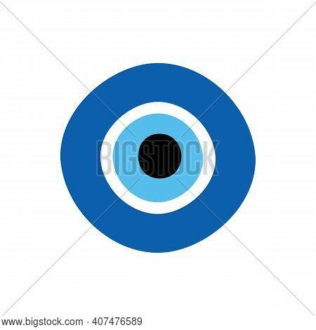 Blue Evil Eye Protection Talisman, Nazar Amulet. Turkish Eye-shaped Amulet Icon, Illustration.