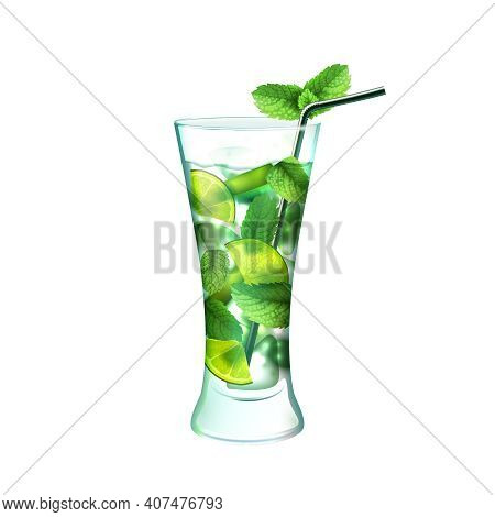 Mojito Realistic Cocktail In Glass With Lime Mint And Drinking Straw Isolated On White Background Ve