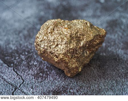 Gold Ore One Concrete Floor Background, Precious Stone