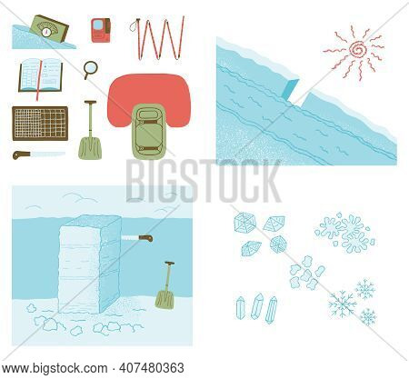 Avalanche Safety Equipment, Snow Study Kit And Stability Test. Color Vector Illustration