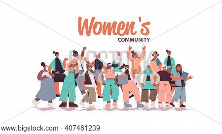 Mix Race Girls Standing Together Female Empowerment Movement Womens Community Union Of Feminists Con