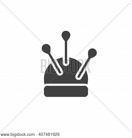 Pincushion With Pins Vector Icon. Filled Flat Sign For Mobile Concept And Web Design. Tailor Cushion