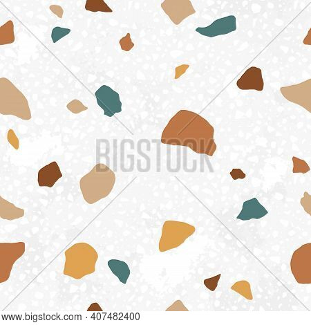 Italian Terrazzo Seamless Pattern. Trendy Endless Texture Design With Repeatable Scattered Stone Fra