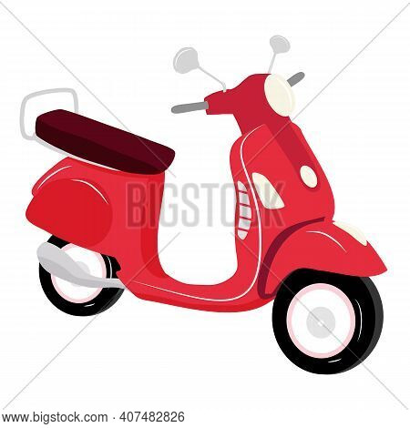 Red Vintage Scooter On White Background Isolated, Vector Illustration, Urban Life, Ride A Motorbike